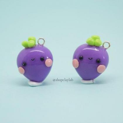 Kawaii purple beetroot charm gift i..