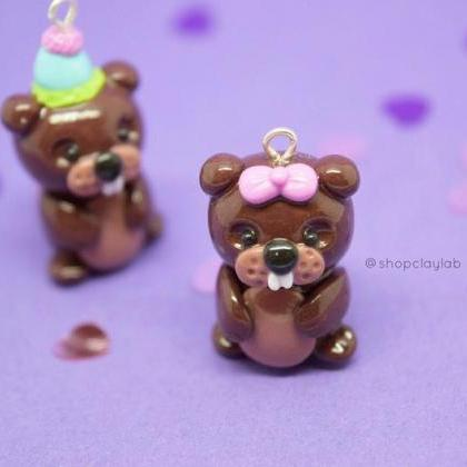 Kawaii brown beaver pink bow cute p..