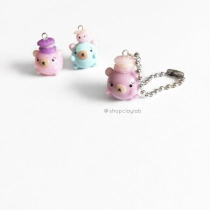Tiny pink chubby bear with french m..