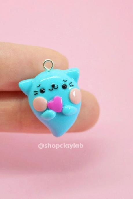 Kawaii blue cat ghost crochet stitch marker