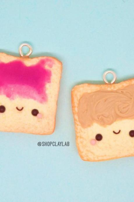 BFF peanut butter & jelly toast friendship charms set