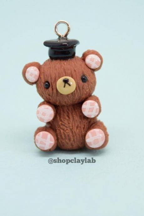 Cute teddy bear graduation charm