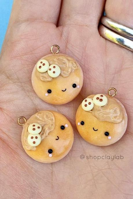 Kawaii breakfast peanut butter pancakes zipper charms