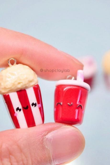 BFF kawaii popcorn and cola charms friendship necklace
