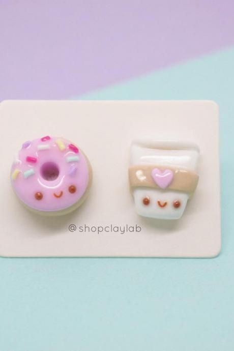 Mismatched kawaii coffee and pink donut stud earrings