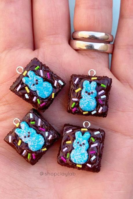 Cute Peeps brownie Easter bunny charm