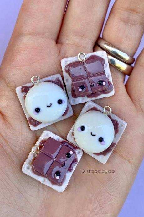BFF kawaii S'mores polymer clay charm pendants set| friendship necklace| cute crochet progress keepers| kawaii stitch markers| funny gifts