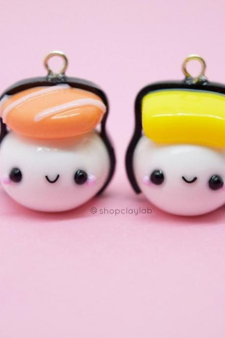 BFF kawaii Japanese sushi crochet progress keepers| friendship necklace| funny gifts| cute stitch markers| kawaii clay charms| fake food