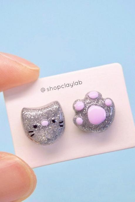 Cute cat earrings| mismatched glitter kawaii cat stud earrings| silver kitten earrings| cute crazy cat lady gift ideas| funny jewellery