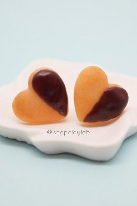 Chocolate dipped love heart sugar cookie stud earrings| Valentines funny gifts| kawaii jewellery| cute accessory