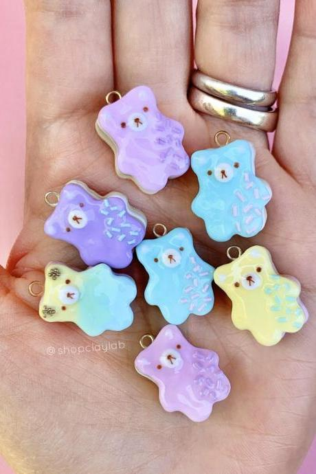 Kawaii bear cookies pendant polymer clay charms| cute pink bear biscuit jewellery| fake food accessory| crochet progress keepers