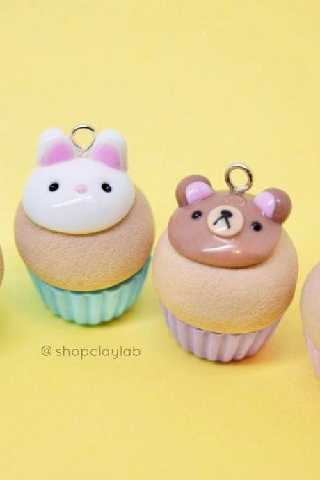 Party kawaii animal cupcake clay charms