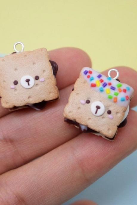 Kawaii chocolate sprinkle s'mores| smores polymer clay charm necklace| cute gift ideas| crochet progress keepers| planner charms