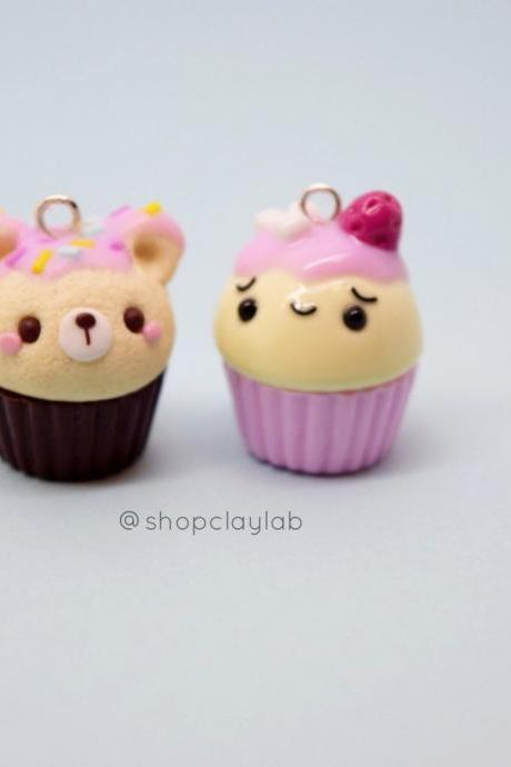 Kawaii bear and strawberry cupcake polymer clay charms| cute crochet progress keeper| fun gift ideas