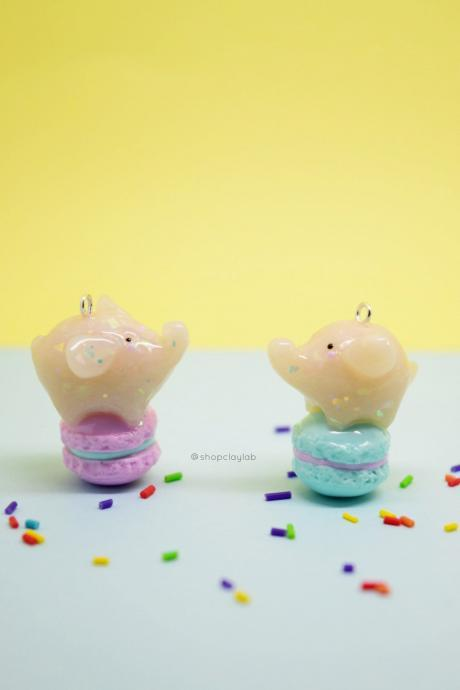 Kawaii glitter mini elephant french macaron clay charms| cute crochet progress keepers
