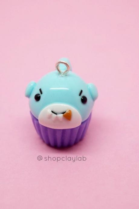 Blue and purple mini kawaii shark cupcake clay charm| crochet progress keepers| cute planner charms| gift ideas