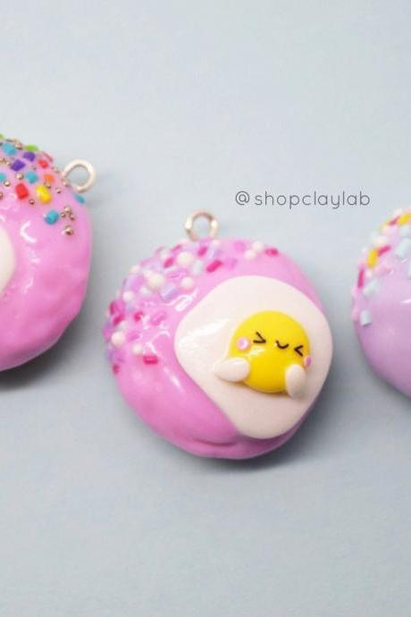 Kawaii egg doughnuts crochet progress keeper| cute donuts clay charm| stitch markers| fun gift ideas| jewellery