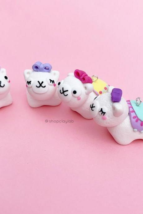 Kawaii white alpaca crochet progress keeper| stitch marker clay charms| cute llama planner charms| fun gift ideas