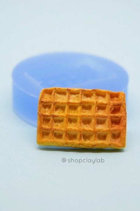 Whole waffle silicone mold| polymer clay flexible push mold| waffle dessert resin mold| kawaii decoden dollhouse miniatures
