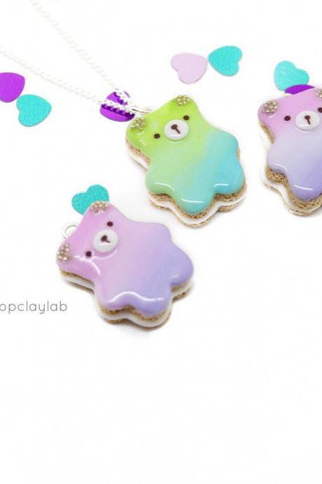 Ombre pink purple bear biscuit cookie pendant