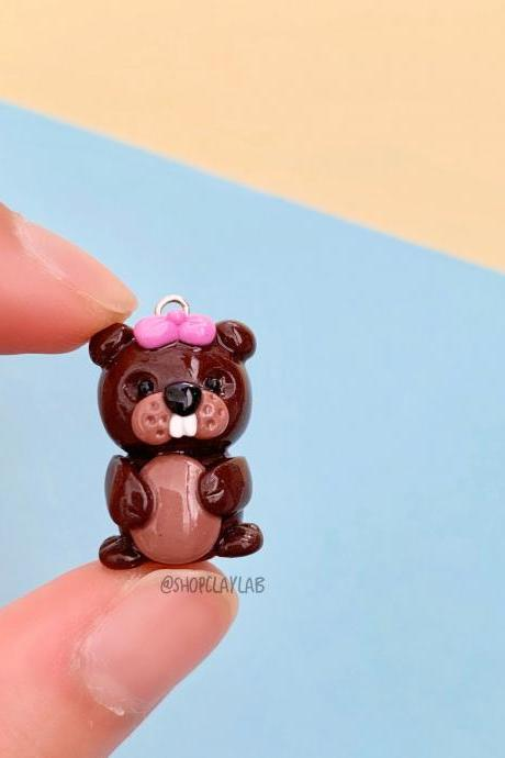 Kawaii brown beaver pink bow cute planner charms