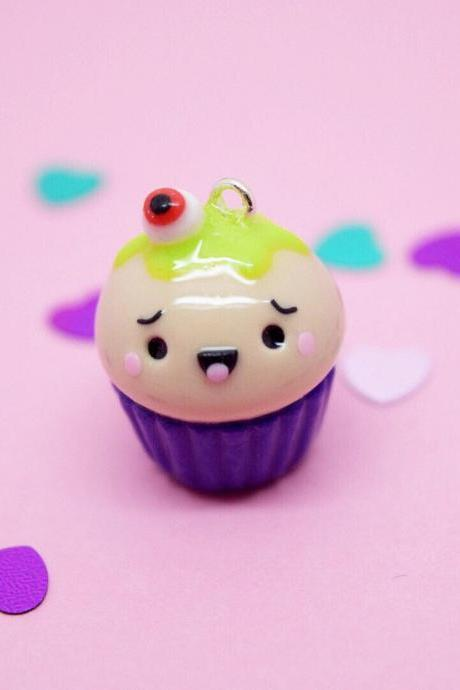 Kawaii Halloween eye cupcake clay charm| spooky cute gift idea| planner charm| crochet progress keeper| knitting craft| purple stitch marker
