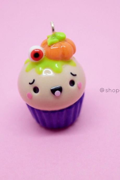 Kawaii Halloween pumpkin cupcake spooky polymer clay charm| cute progress keepers| stitch marker| knitting crafts| planner charm| gift ideas