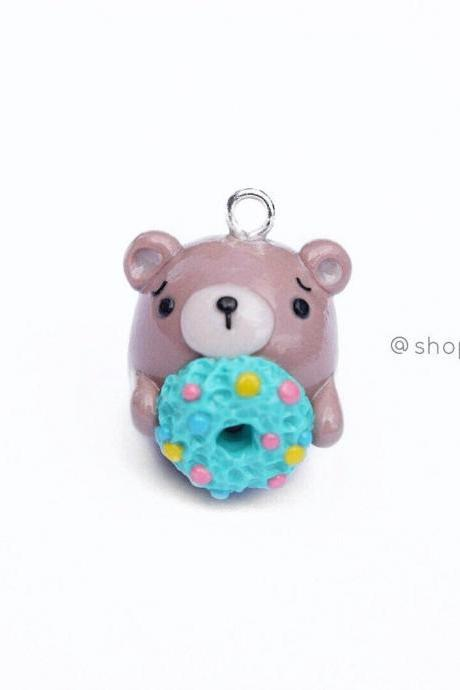 Brown kawaii bear Christmas wreath polymer clay charm crochet progress keepers