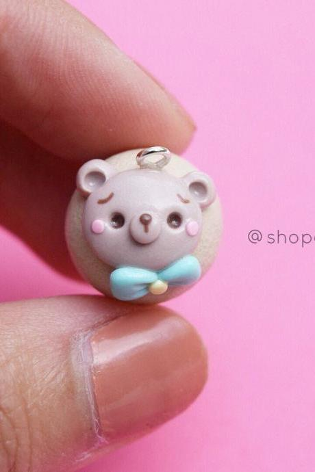 Kawaii bear face cute cupcake polymer clay planner charms