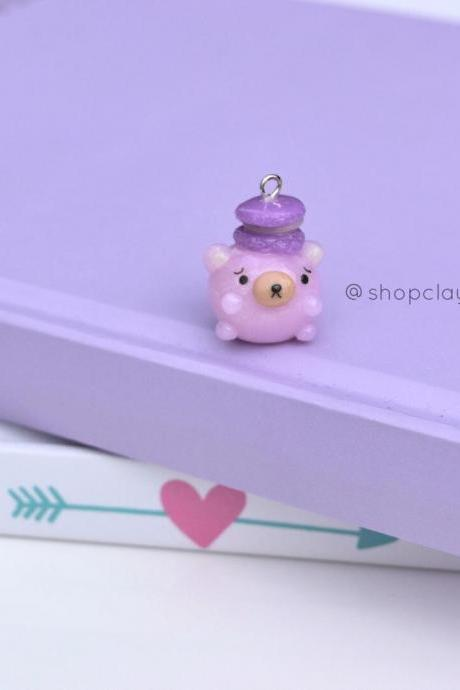 Tiny pink chubby bear with french macaroon kawaii jewelery polymer clay charm